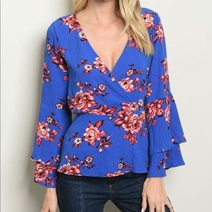 Tops - Blue Floral Wrap Top